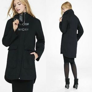 Express Black Twill Toggle Coat